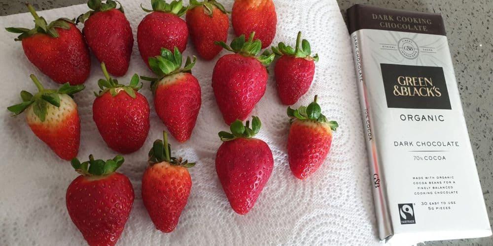 ingredients: strawberries and dark chocolate