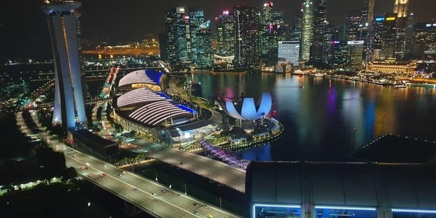 singapore view from the flyer at night