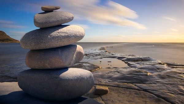 Rocks near the beach when sun rises