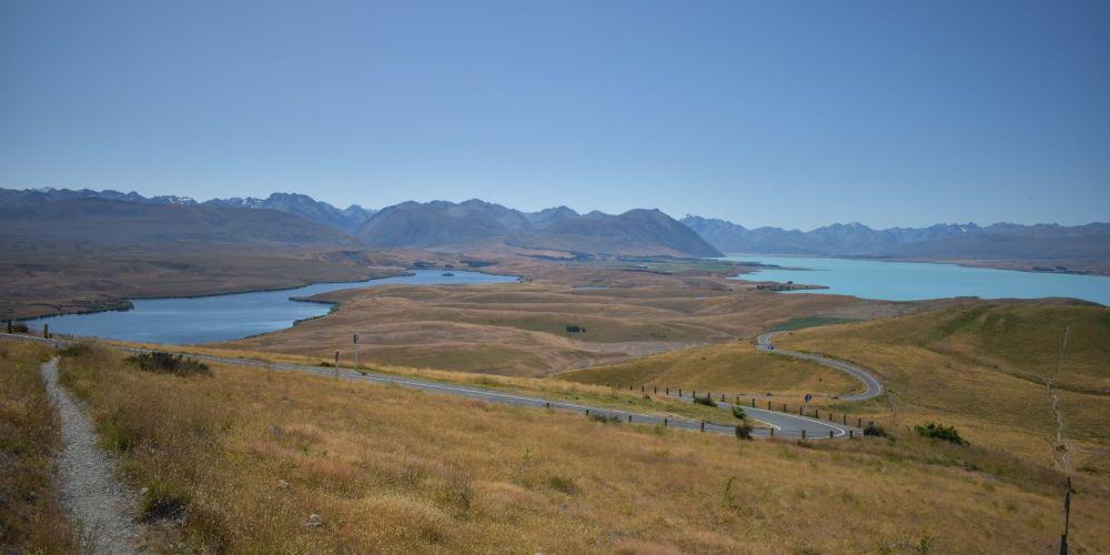 lake alexandrina and lake tekapo from mount john summit