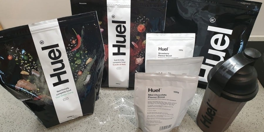 huel products in my kitchen