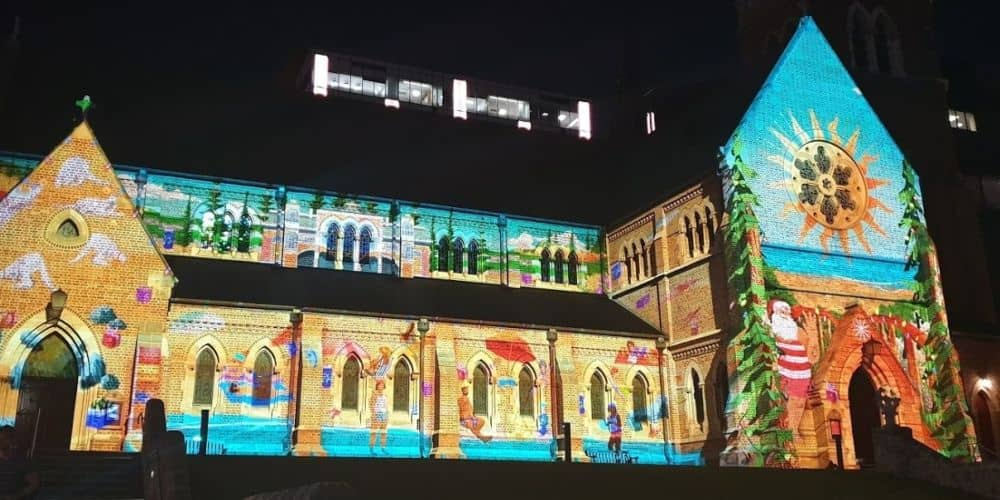 Santa projected on a church in Perth