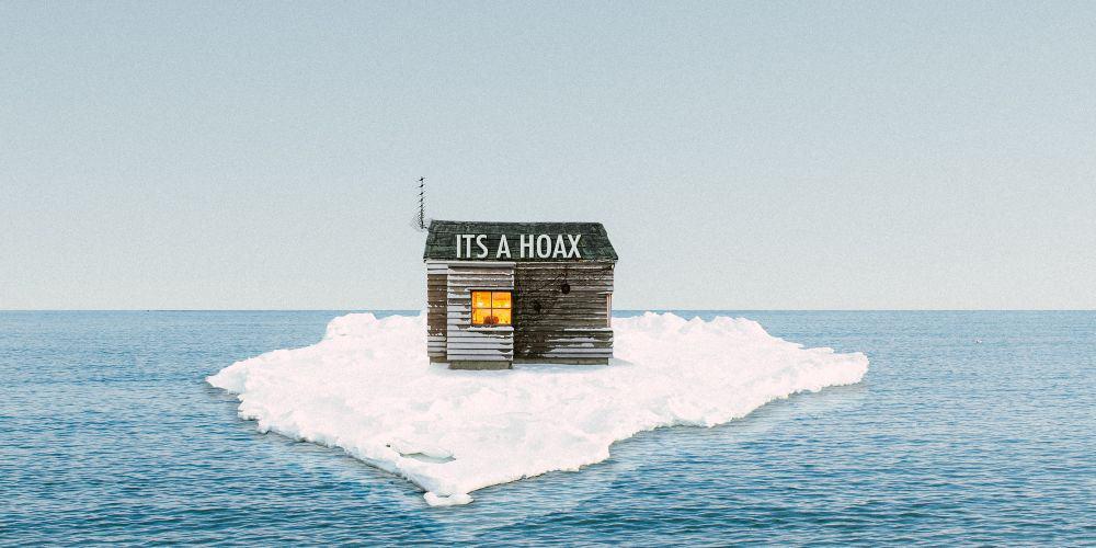 isolated house on ice melting