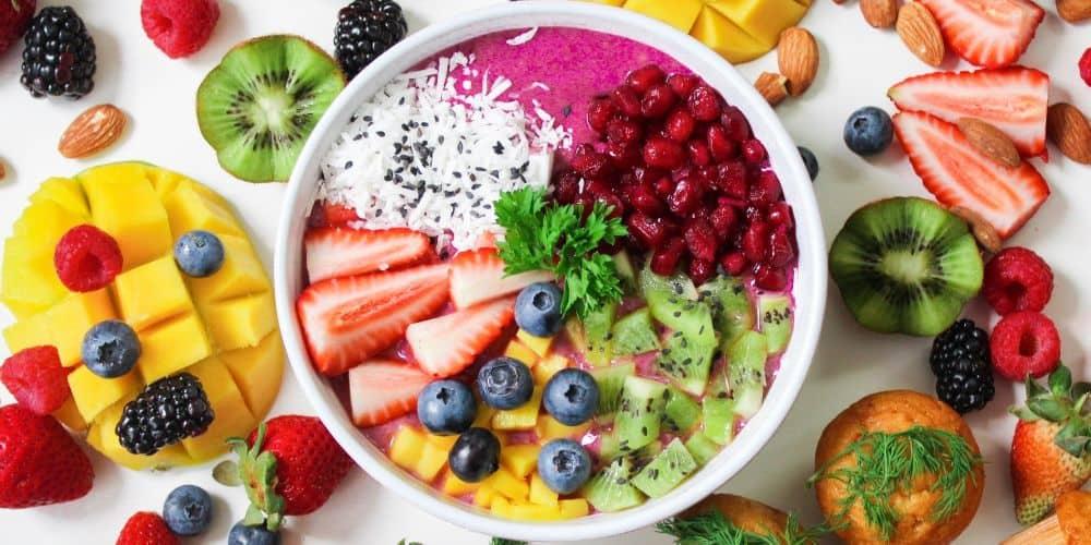 colourful fruit bowl vegan