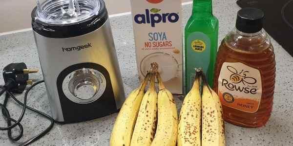 ingredients for a refreshing banana sorbet